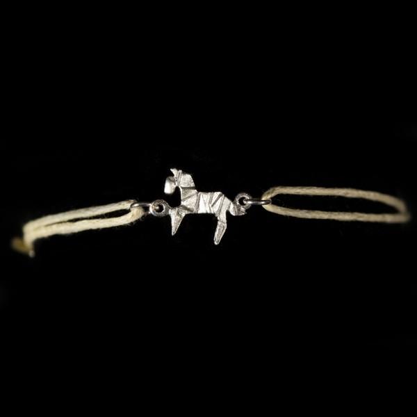 Armband Baumwolle natur mit Anhänger Pferd Origami silber