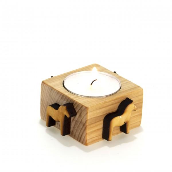 Teelicht Kerze Salzschale Holz Dala Pferd