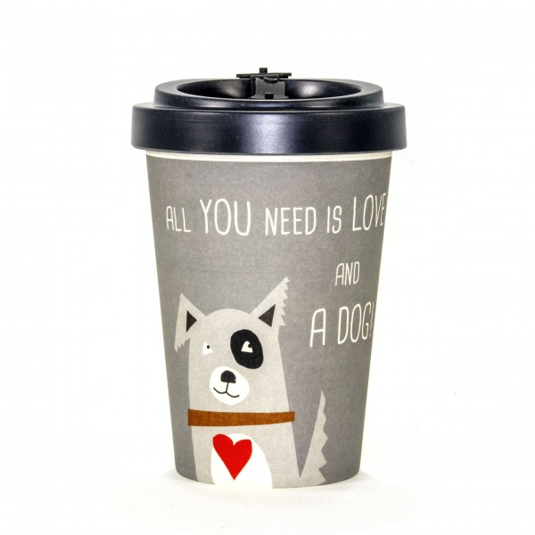 "Becher togo Bambus Hund ""all you need is love and a dog"" 3teilig"