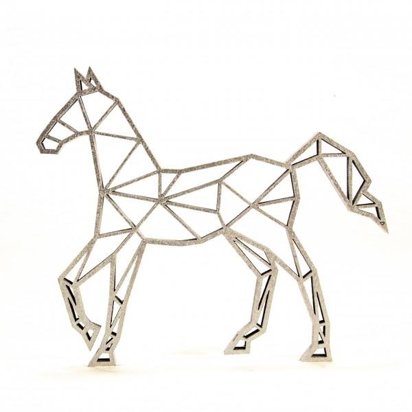 Wanddeko 3D Pferd Origamiart Silber