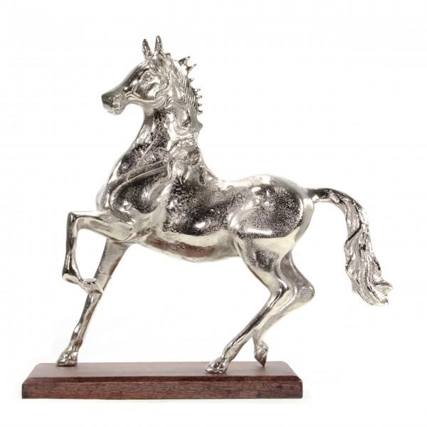 Skulptur Pferd Aluminium Sockel Mangoholz