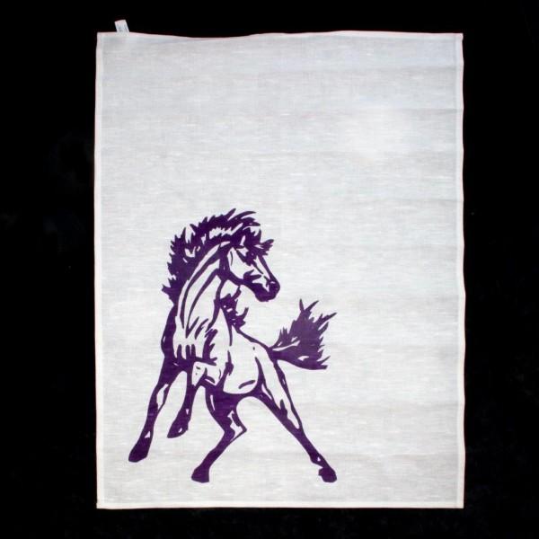 Geschirrtuch Halbleinen mit Siebdruck Pferd