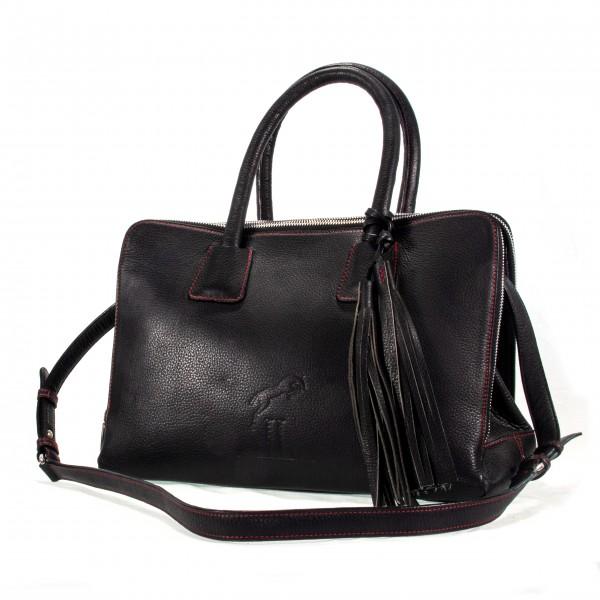 Gallucha Tasche mittel Leder schwarz mit roter Steppung