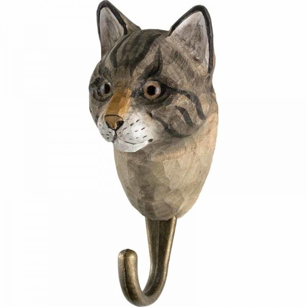 Wandhaken Katze Holz handgeschnitzt
