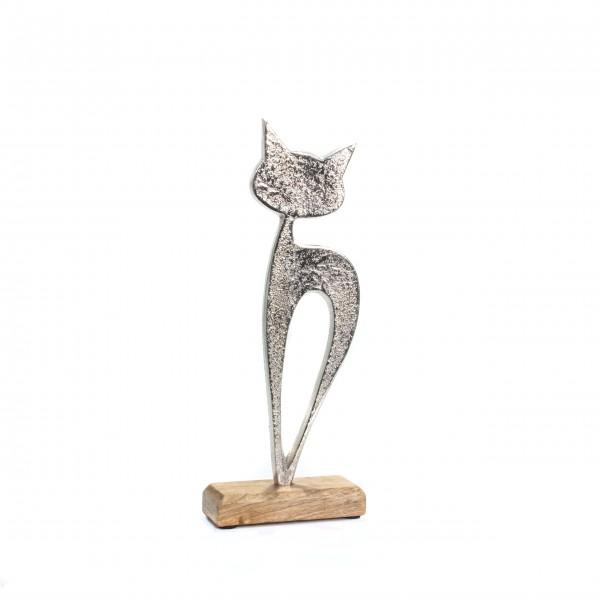 Skulptur Katze silber Sockel Holz klein