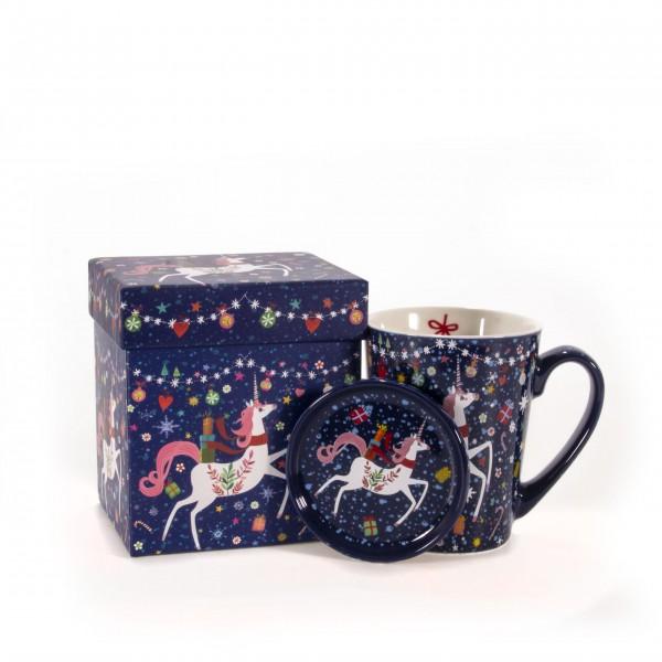 Tasse mit Deckel Happy Unicorn blau mit Box