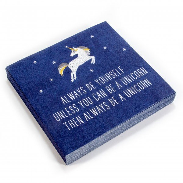Servietten Pack Einhorn always Unicorn dark blue