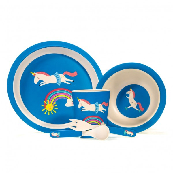 Kindergeschirr 5teiliges Set Einhorn Magic Unicorn blau