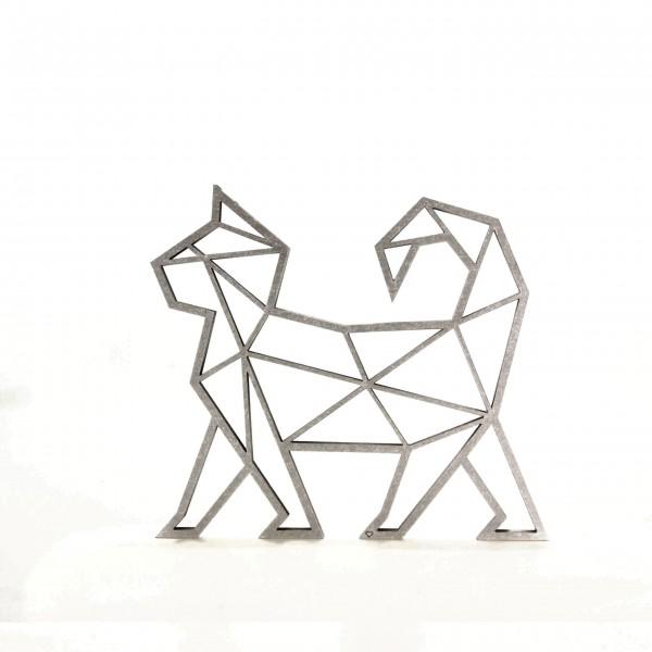 Wanddeko 3D Katze Origamiart Silber