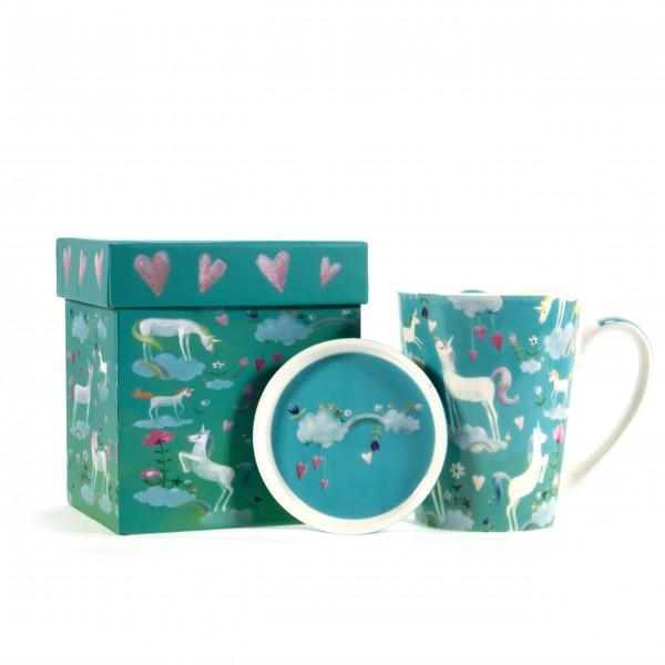 Tasse mit Deckel dreaming Unicorn mit Box