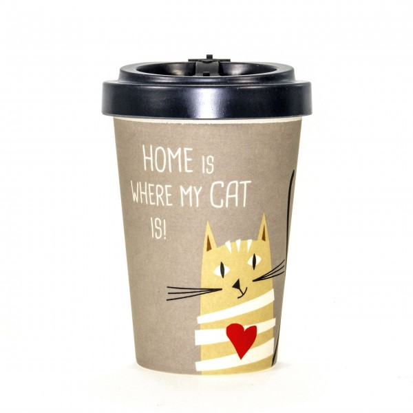 "Becher togo Bambus Katze ""home is where my cat is"" 3teilig"