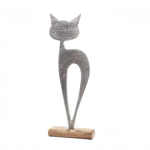 Skulptur Katze silber Sockel Holz groß