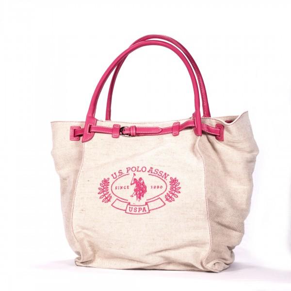 U.S. POLO ASSN. Handtasche Shoppingtasche Leinen beige pink