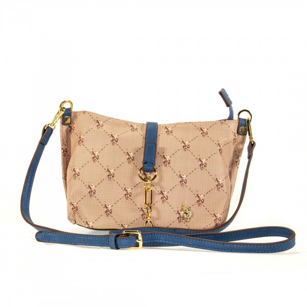 U.S. POLO ASSN. Handtasche Umhängetasche klein beige blau