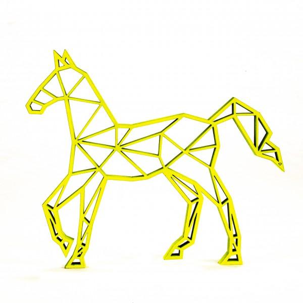 Wanddeko 3D Pferd Origamiart Neongelb