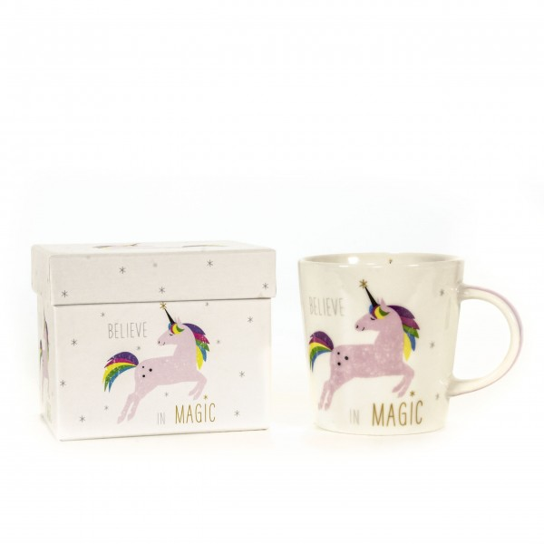 Tasse Einhorn Magic Unicorn weiß pink mit Box