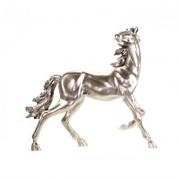 Skulptur Pferd platin/silber groß