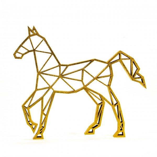 Wanddeko 3D Pferd Origamiart Gold