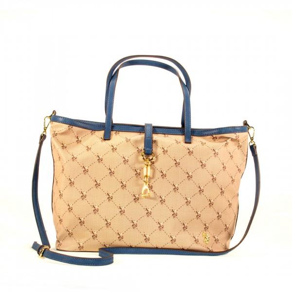 U.S. POLO ASSN. Handtasche Umhängetasche groß beige blau