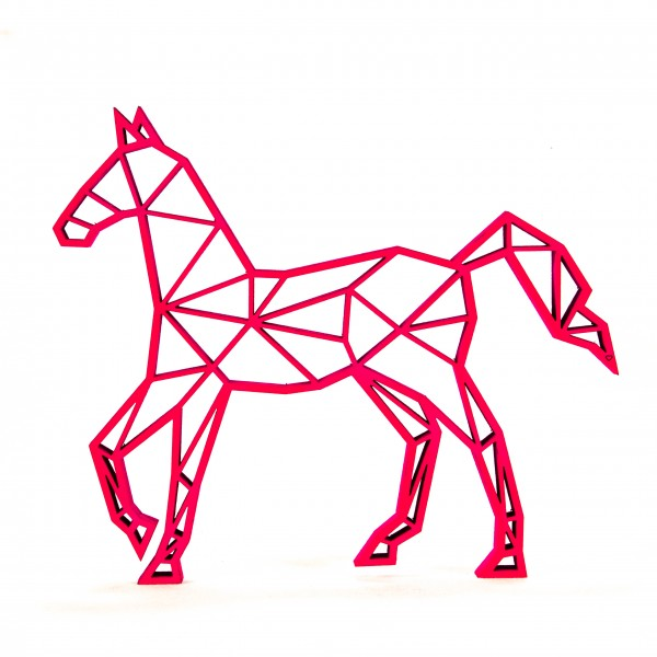 Wanddeko 3D Pferd Origamiart Neonpink