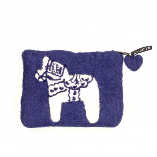 Filztasche blau mit Dala Pferd