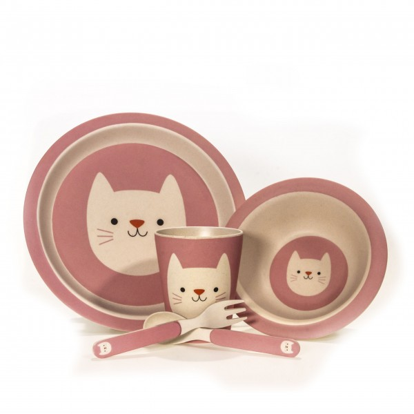 Kindergeschirr Bambus Katze 5teiliges Set Cookie The Cat pink