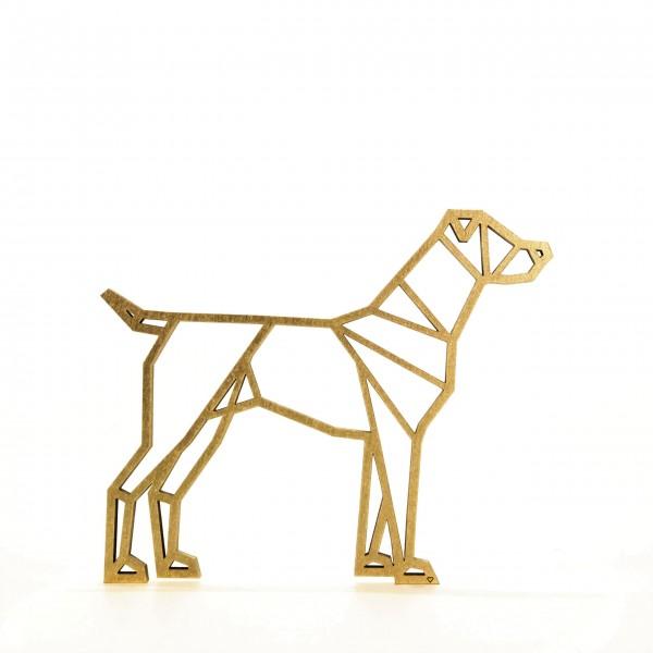 Wanddeko 3D Hund Origamiart Gold