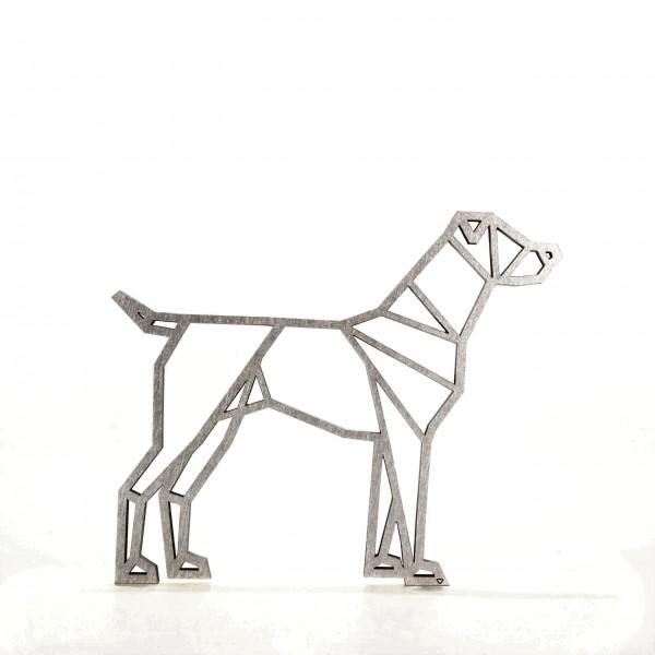 Wanddeko 3D Hund Origamiart Silber