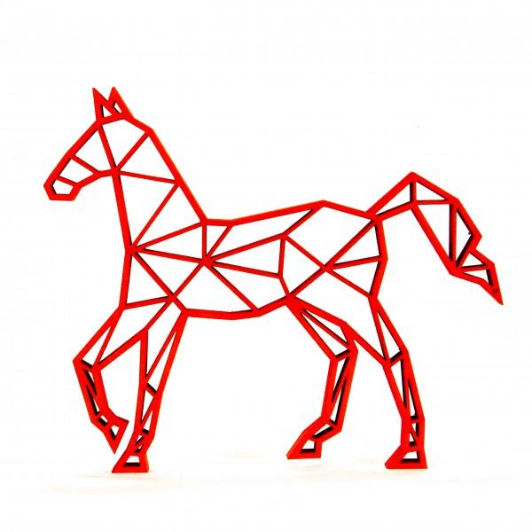 Wanddeko 3D Pferd Origamiart Neonrot