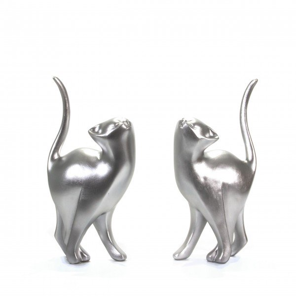 Skulpturen Katze silber 2er Set