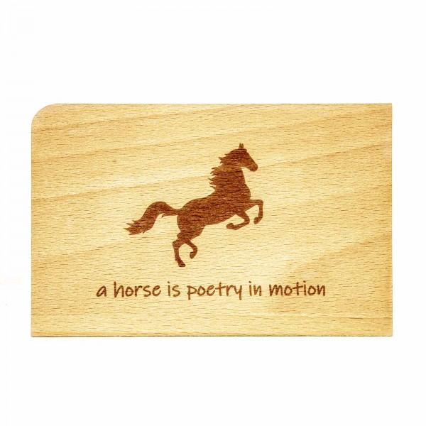 Postkarte Pferd Holz