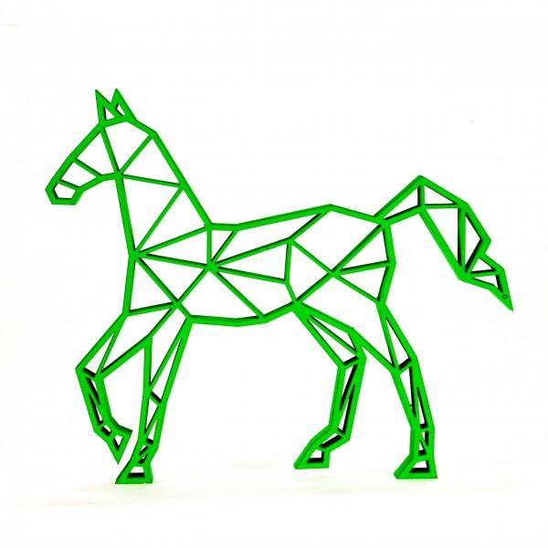 Wanddeko 3D Pferd Origamiart Neongrün