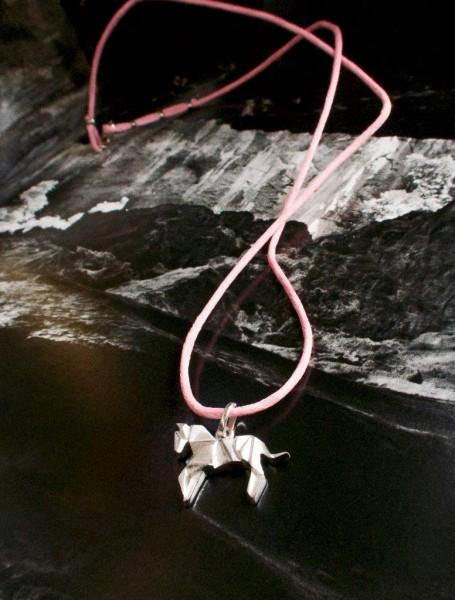 Kette Baumwolle pink mit Anhänger Pferd Origami silber