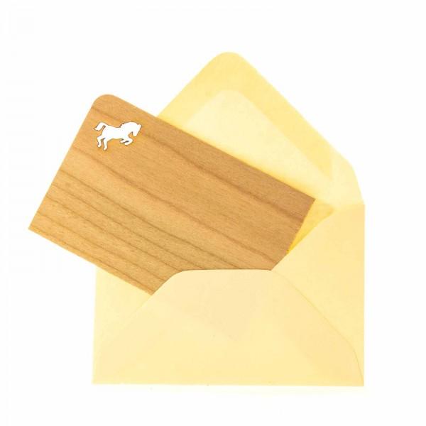 Grußkarte Pferd Holz