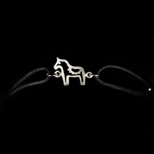 Armband Baumwolle schwarz mit Anhänger Pferd Dala silber
