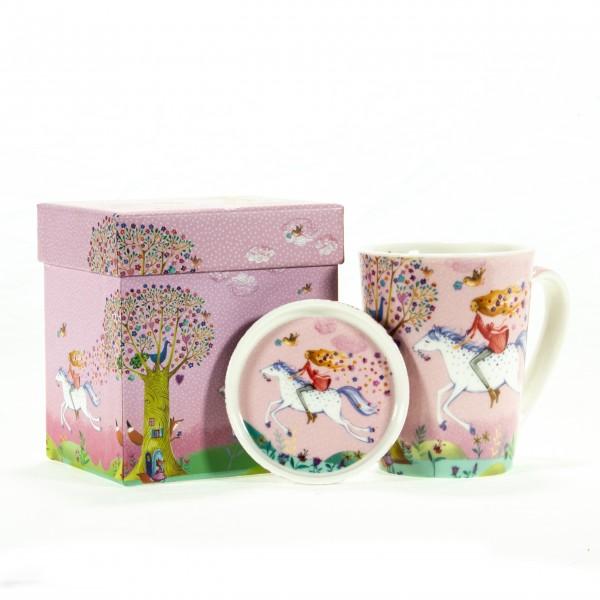 Tasse mit Deckel Ride pink mit Box
