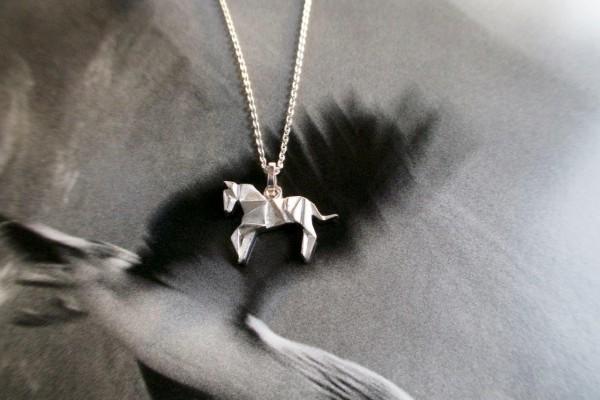 Kette Silber mit Anhänger Pferd Origami silber